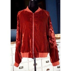 Anthropologie Lisanne Embroidered Velvet Jacket L